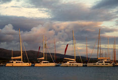 Catamarans in Lefkas marina. Stock Photos
