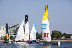 Catamarans na zatoce nawadniają Obrazy Stock