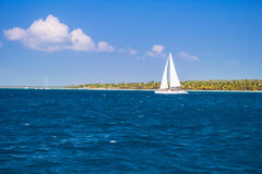 Catamarans pływa statkiem morze Fotografia Royalty Free
