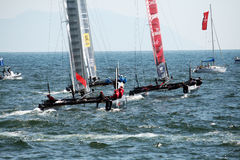 Catamarans race Royalty Free Stock Photography
