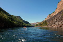 Catamarans in the river Kyzyl-Khem canyon. Royalty Free Stock Images