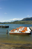 Catamarans sur le lac Caldonazzo Images libres de droits