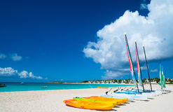 Catamarans on tropical beach Royalty Free Stock Image