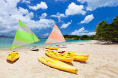 Catamarans at tropical beach. Catamarans at beautiful tropical Caribbean beach Royalty Free Stock Photo
