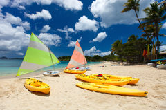 Catamarans at tropical beach. Catamarans at beautiful tropical Caribbean beach Royalty Free Stock Images