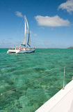 Catamarans and tropical lagoon Stock Photo