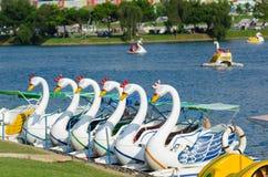Catamarans in Xuan Huong Lake, Dalat, Vietnam stock afbeeldingen