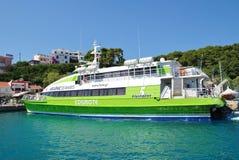 Catamaranveerboot, Alonissos-eiland Stock Afbeeldingen