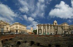 Catanië Roman Amphitheatre, Sicilië Stock Foto's