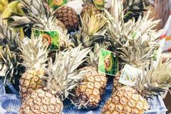Catani?, Sicili? ?? ?08 augustus, 2018: ananassen in de fruitmarkt, Catani?, Sicili?, Itali stock fotografie
