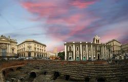 Catanië Roman Amphitheatre (panorama), Sicilië Stock Afbeeldingen