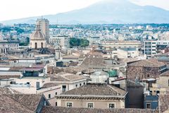 Catania aerial cityscape with Mount Etna, active volcano on the east coast of Sicily, Italy stock images