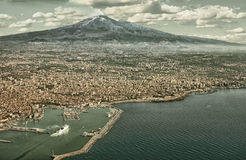 Catania aerial view HDR. Air photo of Catania city in Sicily with the Etna Vulcan in the back. HDR image with black gold filter Stock Photography