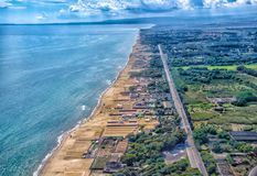 Catania from the air. Air photography of Catania beach stock images
