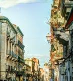 Catania arhitecture - Catania gatasikt Arkivfoton