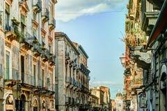 Catania arhitecture - Catania gatasikt Arkivbilder