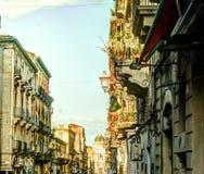 Catania arhitecture - Catania gatasikt Arkivfoto