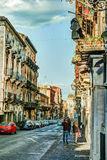 Catania-arhitecture - Catania-Straßenansicht Lizenzfreies Stockfoto
