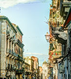 Catania arhitecture - Catania ulicy widok Zdjęcia Stock