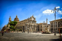 Catania Cathedral and City Square on Sunny Day Stock Photography