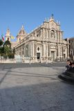 Catania Cathedral (Duomo). Catania's Cathedral was built in the 12th century, and was then entirely rebuilt in 1600 after the earthquake and the volcano eruption Royalty Free Stock Photo