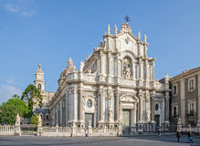 Catania Cathedral with its Sicilian Baroque façade. Catania, Italy - November 7, 2015: Catania Cathedral with its typical Sicilian Baroque façade designed royalty free stock images