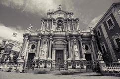 Catania cathedral monochrome Royalty Free Stock Photos