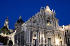 Catania cathedral Santa Agata by night. Catania the cathedral of Santa Agata in the square Duomo Royalty Free Stock Photo