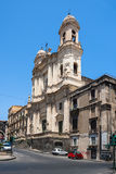 Catania church Santo Francesco and  statue of Cardinale Dusme Stock Image