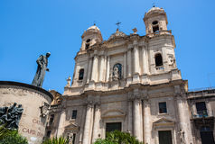 Catania church Santo Francesco and the statue of Cardinale Dusmet Royalty Free Stock Image