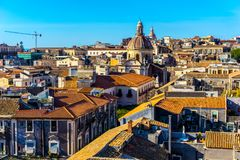Catania city, Sicily. Rooftop view of buildings royalty free stock photos