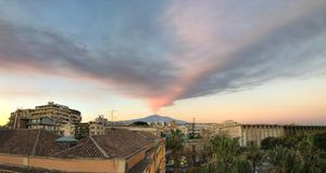 Catania: 27 December 2018. Etna volcano eruption royalty free stock photo