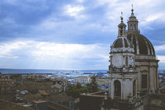Catania, dome and bell tower of Sant& x27;Agata Cathedral, Sicily Ita Stock Photos