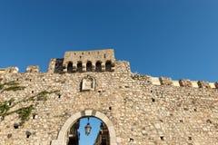 Catania Door in Taormina - Sicily Italy. Catania Door Porta Catania, old gateway in the Taormina town, Messina, Sicily island, Italy royalty free stock photos