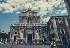 Catania, em maio de 2017 a igreja da abóbada fotos de stock