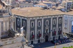 Catania, Italia Città portuale antica della Sicilia fotografie stock libere da diritti