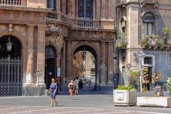 catania italy Forntida hamnstad av Sicilien fotografering för bildbyråer