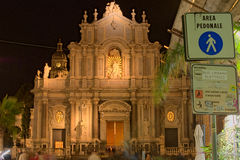CATANIA, ITALY, January 05, 2017: View to the façade of Cathedral of Santa Agatha - Catania duomo. Early winter evening. Sicily Stock Image