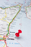Catania Italy On A Map. Closeup of Catania Italy On A Map Royalty Free Stock Images