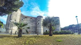 Castello Ursino in Catania, Sicily, Italy. Catania, Italy - May 15, 2018: Castello Ursino or Castello Svevo di Catania, castle in Catania, Sicily. Built in 13th stock video footage