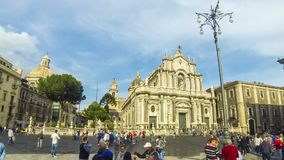 Piazza Duomo and Cathedral of Santa Agatha, Catania, Italy. Catania, Italy - May 15, 2018: Panoramic view of Cathedral Square Piazza Duomo and Cathedral of Santa stock footage
