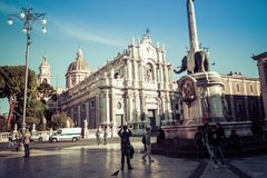 CATANIA, ITALY - NOVEMBER 28, 2017: Piazza del Duomo in Catania. With the Cathedral of Santa Agatha in Catania in Sicily, Italy Stock Photos