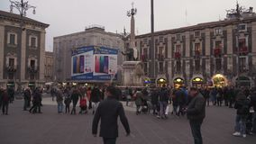 Catania, Italy - Sicily Main square, Etnea street people and tourist walking stock video footage