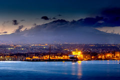 Catania. And Mount Etna at sunset Royalty Free Stock Photo
