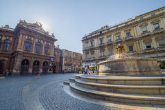 Catania, Piazza Bellini. Piazza Teatro Vincenzo Bellini with the fountain of the dolphins and the theater Bellini in the city of Catania, Italy Royalty Free Stock Photos