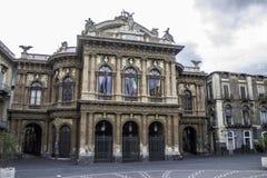Catania, piazza Teatro Massimo zdjęcie stock