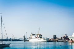 The Catania Port Authority, seascape with sail boats, Sicily, Italy.  royalty free stock image