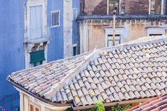 Catania rooftops and cityscape in the background, Sicily, Italy stock images