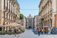 Scenic view in Catania with Porta Uzeda in the backogrund. Sicily, southern Italy. stock photos