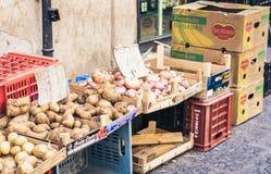 """Catania Sicilien †""""august 16, 2018: Olika färgrika nya grönsaker i fruktmarknaden fotografering för bildbyråer"""